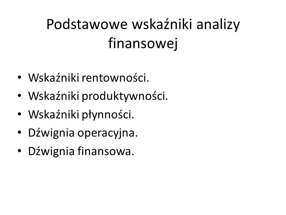 Podstawowe wskaźniki analizy finansowej Wskaźniki rentowności. Wskaźniki produktywności. Wskaźniki płynności. Dźwignia operacyjna. Dźwignia finansowa.
