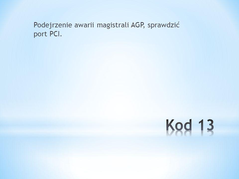 Podejrzenie awarii magistrali AGP, sprawdzić port PCI.