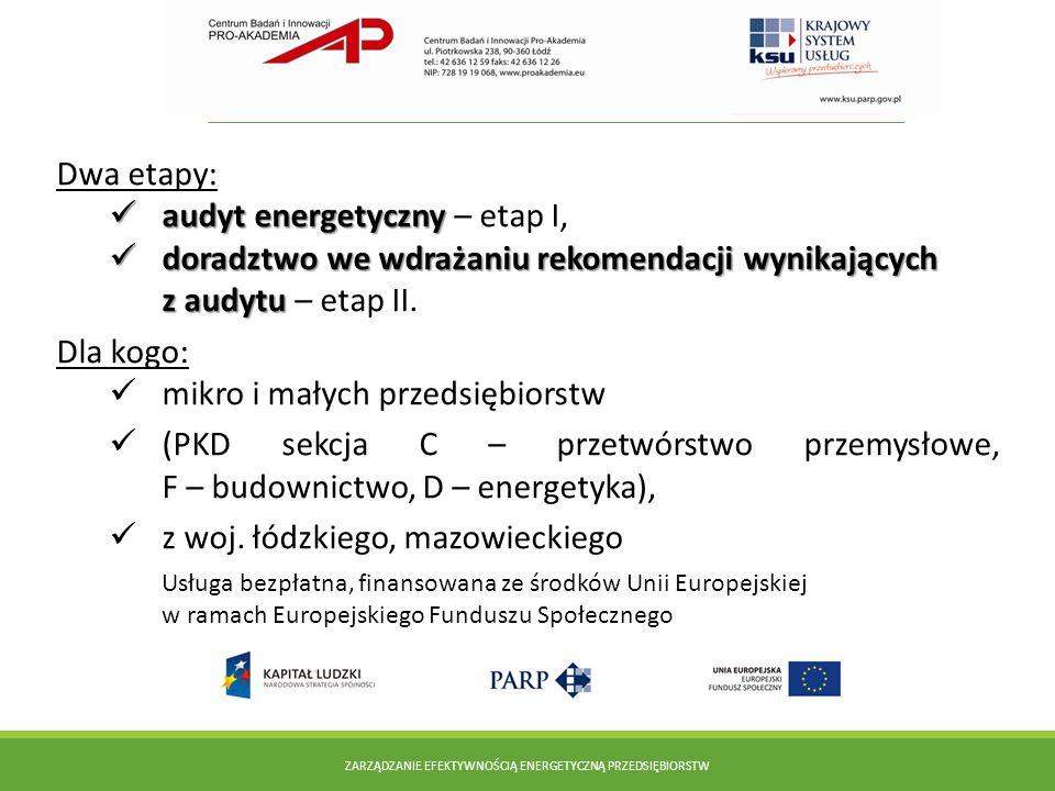 Dwa etapy: audyt energetyczny audyt energetyczny – etap I, doradztwo we wdrażaniu rekomendacji wynikających z audytu doradztwo we wdrażaniu rekomendac