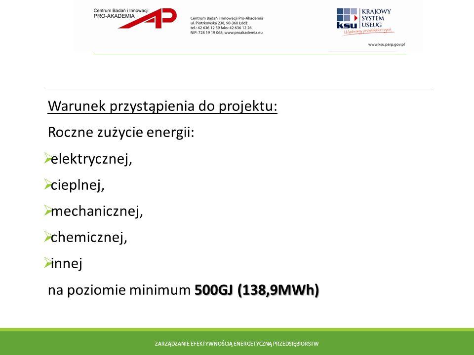 Warunek przystąpienia do projektu: Roczne zużycie energii: elektrycznej, cieplnej, mechanicznej, chemicznej, innej 500GJ (138,9MWh) na poziomie minimu