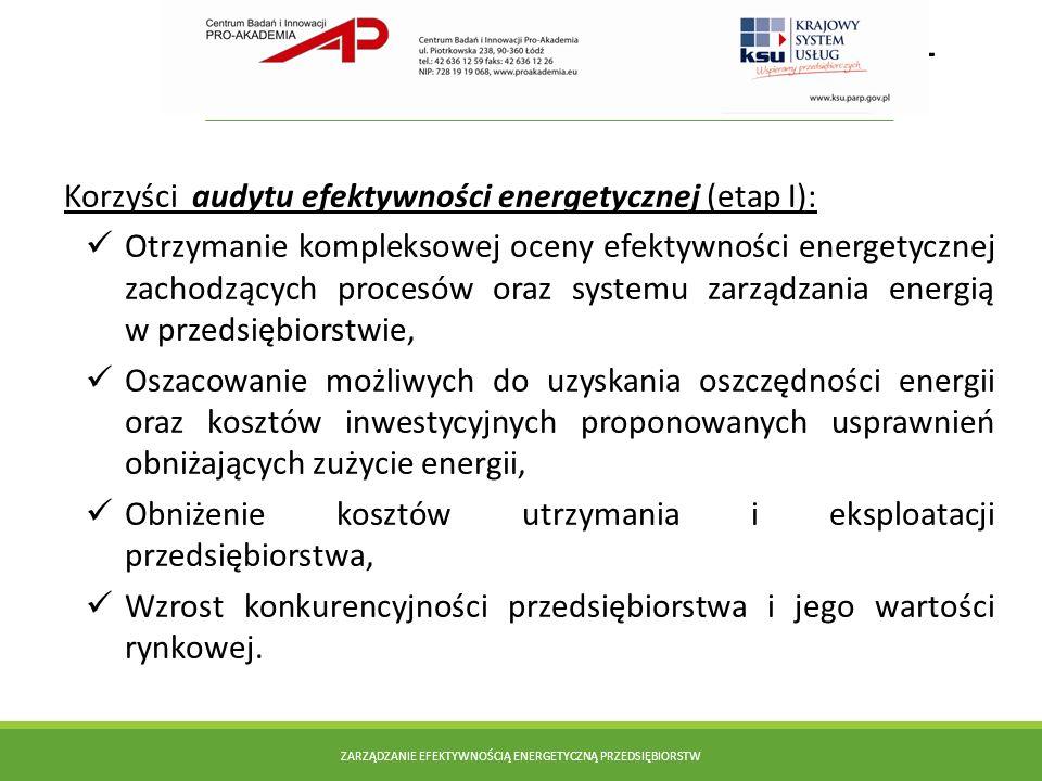 Doradztwo KSI KSU dla innowacyjnych – projekt systemowy PARP Korzyści audytu efektywności energetycznej (etap I): Otrzymanie kompleksowej oceny efekty