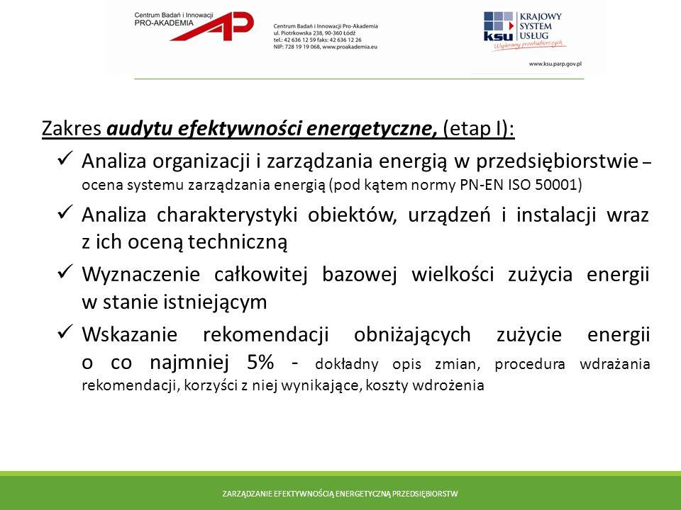 Zakres audytu efektywności energetyczne, (etap I): Analiza organizacji i zarządzania energią w przedsiębiorstwie – ocena systemu zarządzania energią (