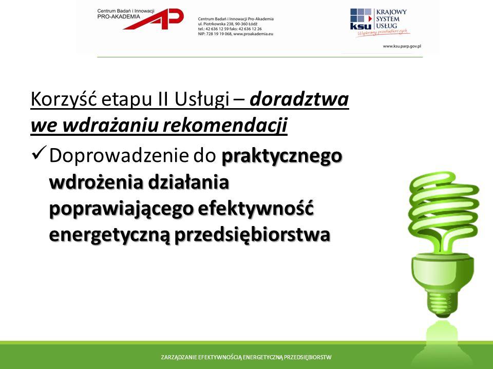 Korzyść etapu II Usługi – doradztwa we wdrażaniu rekomendacji praktycznego wdrożenia działania poprawiającego efektywność energetyczną przedsiębiorstw