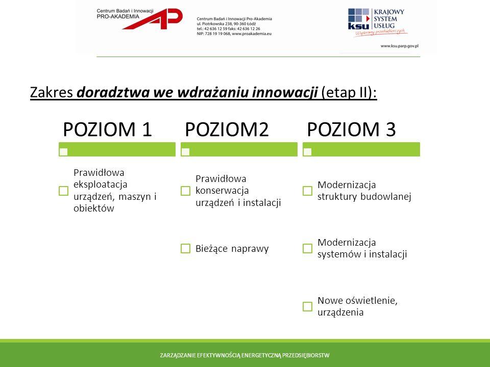 Zakres doradztwa we wdrażaniu innowacji (etap II): ZARZĄDZANIE EFEKTYWNOŚCIĄ ENERGETYCZNĄ PRZEDSIĘBIORSTW POZIOM 1 Prawidłowa eksploatacja urządzeń, m