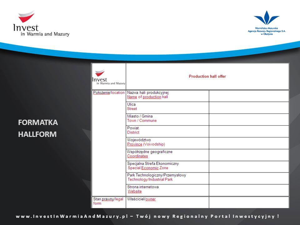 www.InvestInWarmiaAndMazury.pl – Twój nowy Regionalny Portal Inwestycyjny ! FORMATKA HALLFORM