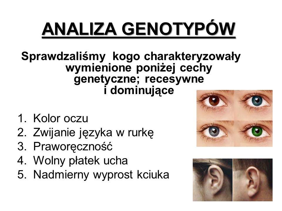 Sprawdzaliśmy kogo charakteryzowały wymienione poniżej cechy genetyczne; recesywne i dominujące 1.Kolor oczu 2.Zwijanie języka w rurkę 3.Praworęczność