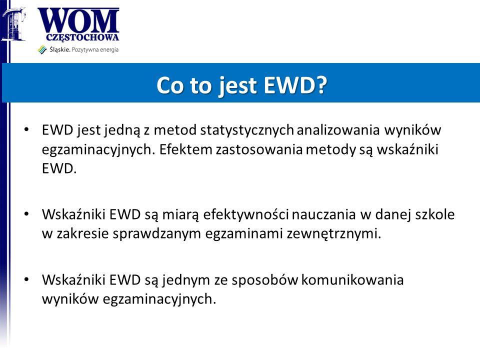 EWD jest jedną z metod statystycznych analizowania wyników egzaminacyjnych.