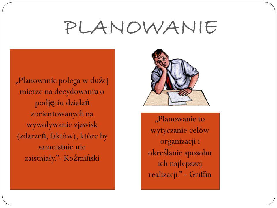 PLANOWANIE Planowanie polega w du ż ej mierze na decydowaniu o podj ę ciu działa ń zorientowanych na wywoływanie zjawisk (zdarze ń, faktów), które by
