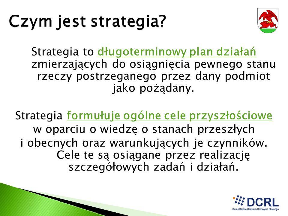 Czym jest strategia? Strategia to długoterminowy plan działań zmierzających do osiągnięcia pewnego stanu rzeczy postrzeganego przez dany podmiot jako