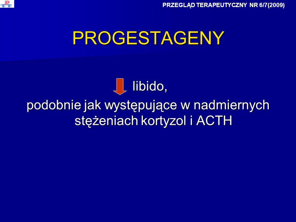 PROGESTAGENY libido, libido, podobnie jak występujące w nadmiernych stężeniach kortyzol i ACTH PRZEGLĄD TERAPEUTYCZNY NR 6/7(2009)