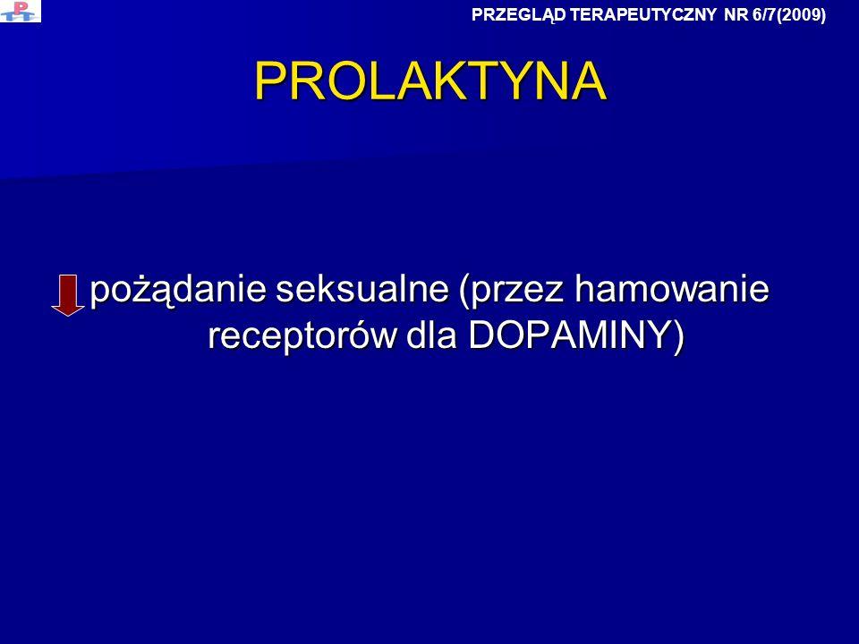 PROLAKTYNA pożądanie seksualne (przez hamowanie receptorów dla DOPAMINY) PRZEGLĄD TERAPEUTYCZNY NR 6/7(2009)