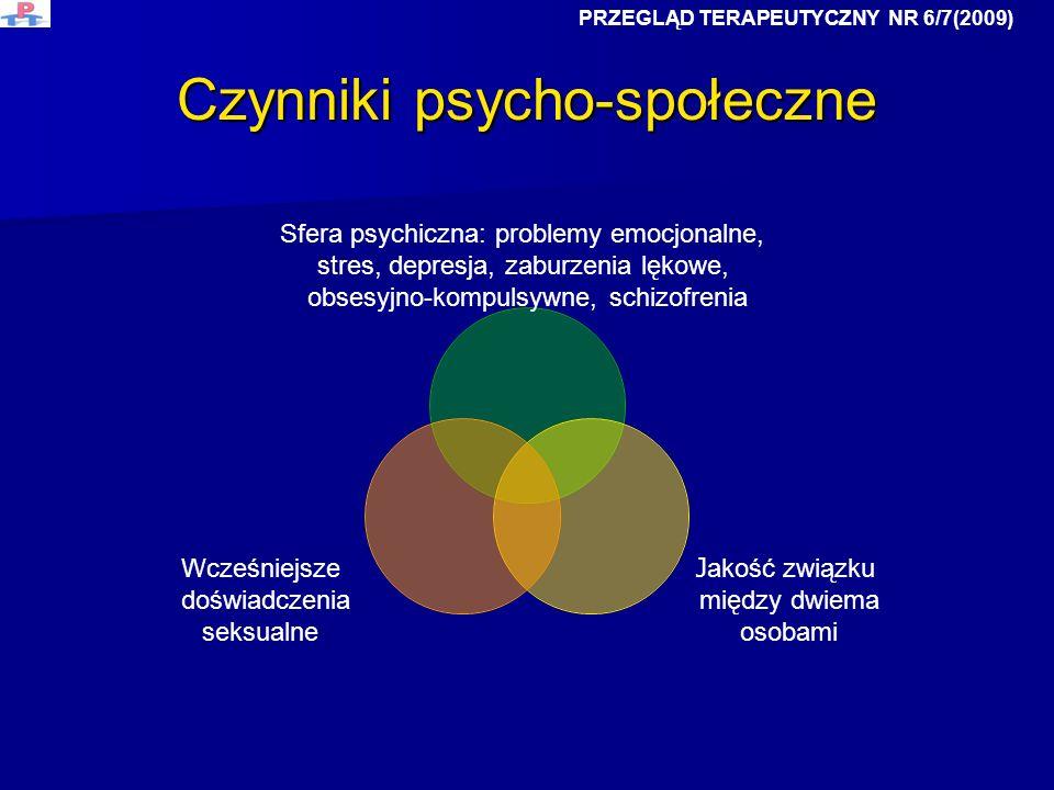 Czynniki psycho-społeczne Sfera psychiczna: problemy emocjonalne, stres, depresja, zaburzenia lękowe, obsesyjno-kompulsywne, schizofrenia J akość zwią