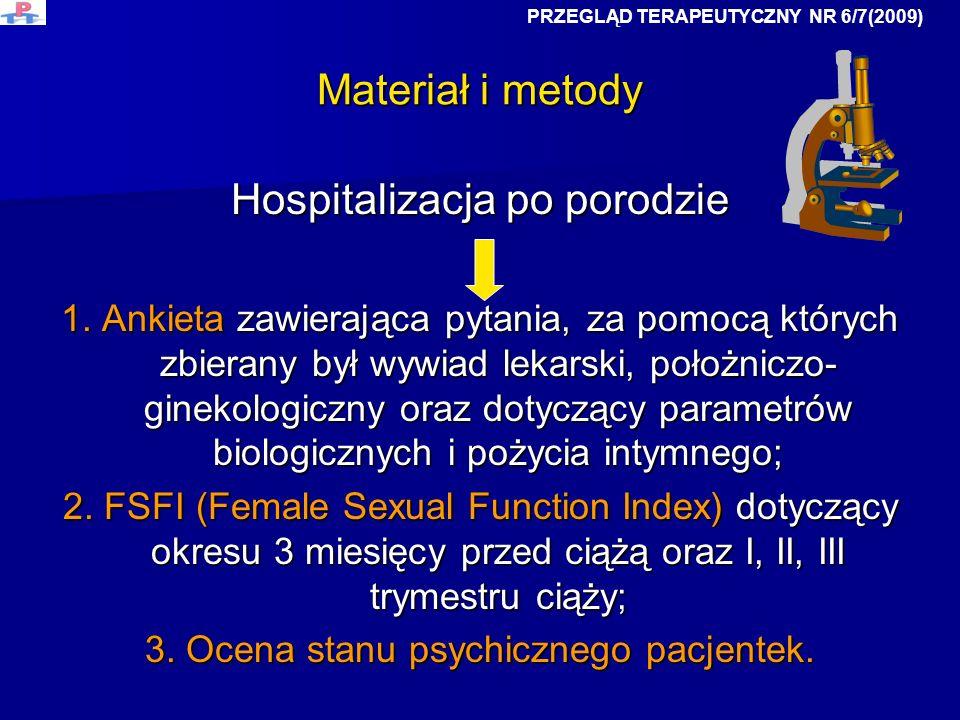 Materiał i metody Hospitalizacja po porodzie 1. Ankieta zawierająca pytania, za pomocą których zbierany był wywiad lekarski, położniczo- ginekologiczn