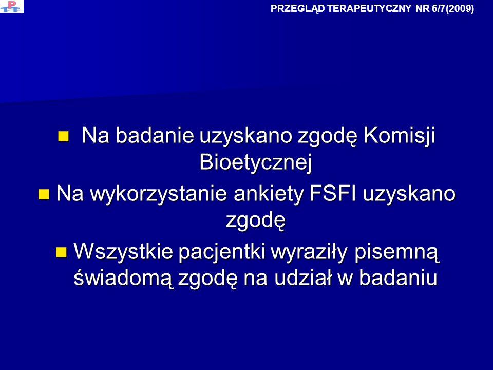 Na badanie uzyskano zgodę Komisji Bioetycznej Na badanie uzyskano zgodę Komisji Bioetycznej Na wykorzystanie ankiety FSFI uzyskano zgodę Na wykorzysta
