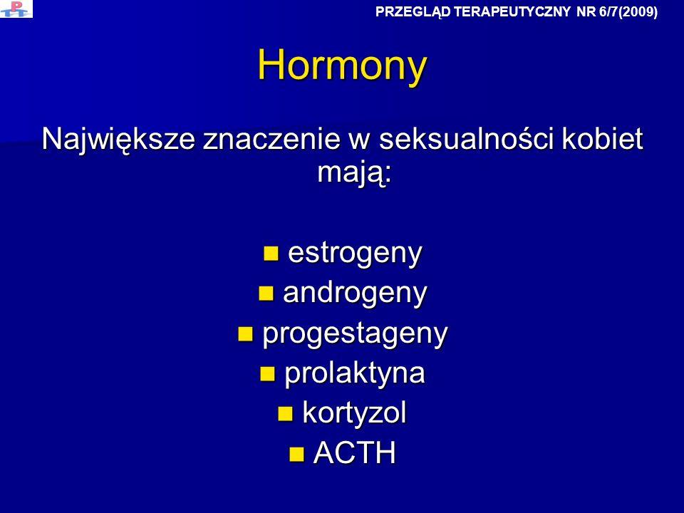 Hormony Największe znaczenie w seksualności kobiet mają: estrogeny estrogeny androgeny androgeny progestageny progestageny prolaktyna prolaktyna korty