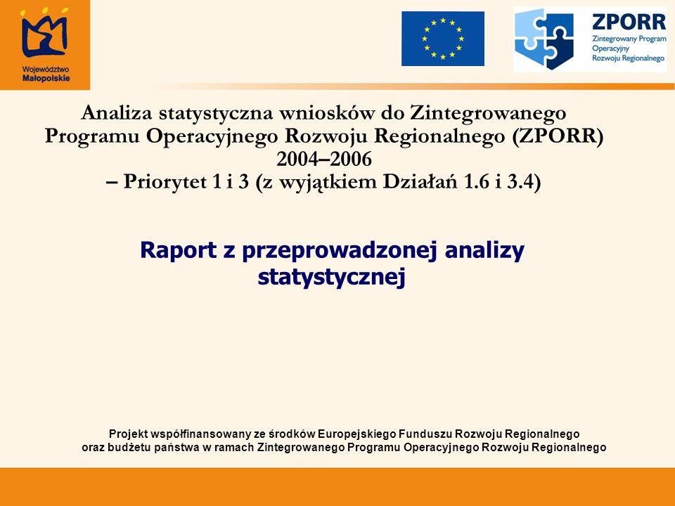 Projekt współfinansowany ze środków Europejskiego Funduszu Rozwoju Regionalnego oraz budżetu państwa w ramach Zintegrowanego Programu Operacyjnego Rozwoju Regionalnego Analiza statystyczna wniosków do Zintegrowanego Programu Operacyjnego Rozwoju Regionalnego (ZPORR) 2004–2006 – Priorytet 1 i 3 (z wyjątkiem Działań 1.6 i 3.4) Raport z przeprowadzonej analizy statystycznej