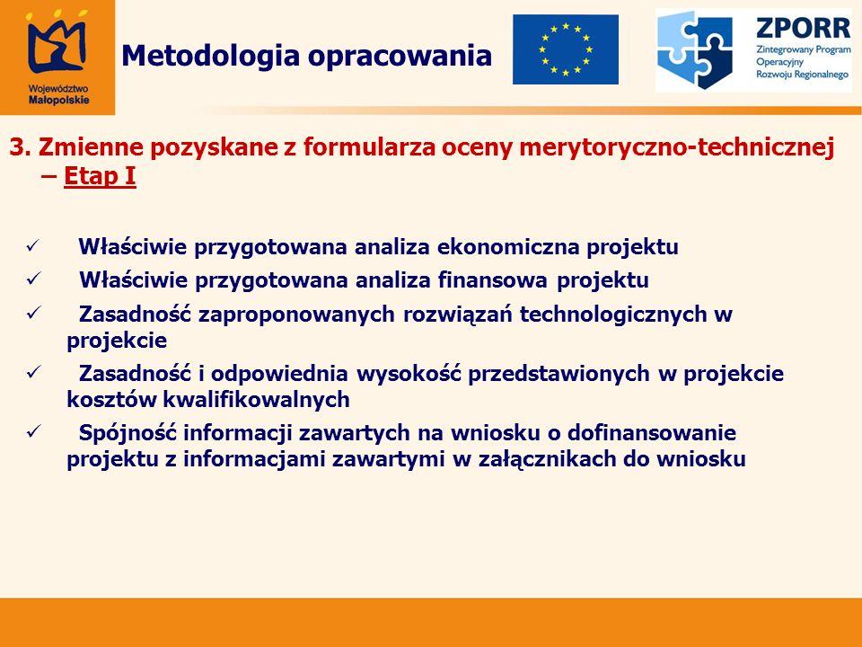 3. Zmienne pozyskane z formularza oceny merytoryczno-technicznej – Etap I Metodologia opracowania Właściwie przygotowana analiza ekonomiczna projektu