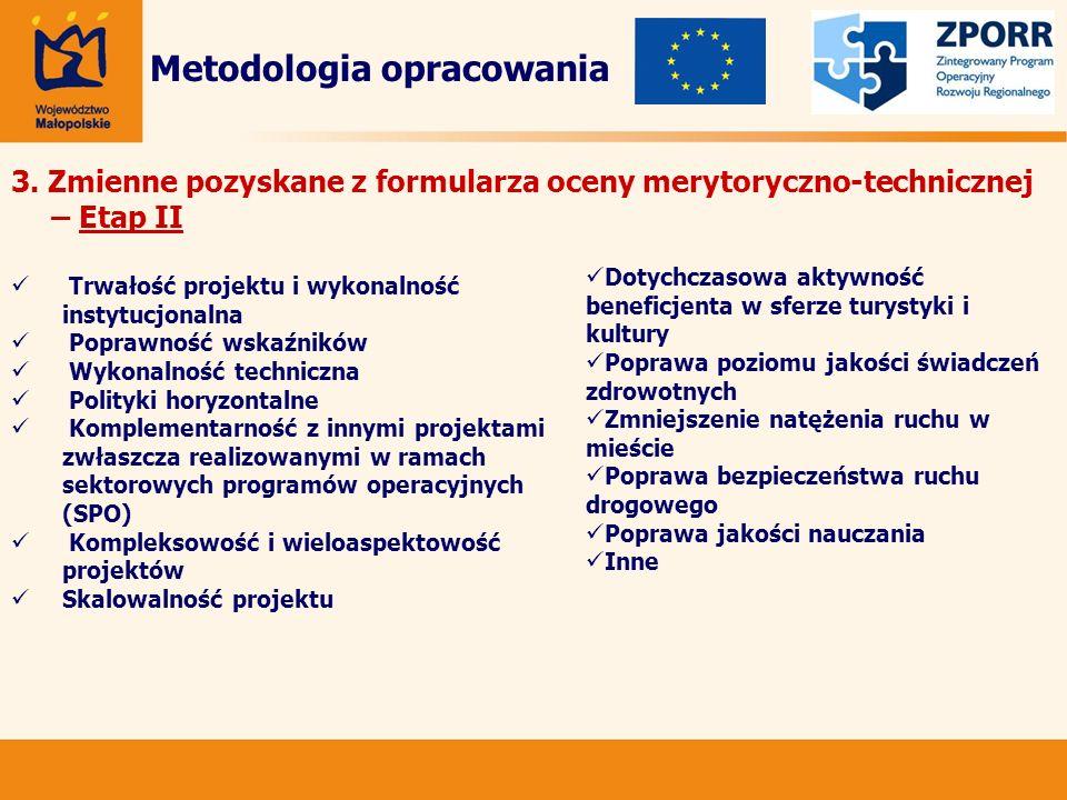 3. Zmienne pozyskane z formularza oceny merytoryczno-technicznej – Etap II Metodologia opracowania Trwałość projektu i wykonalność instytucjonalna Pop