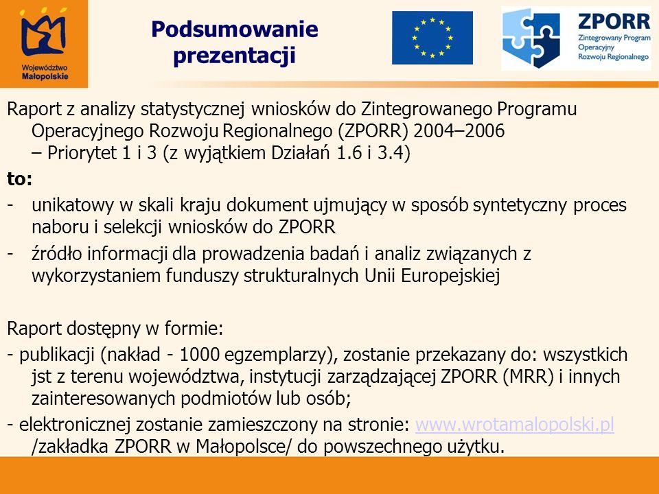 Podsumowanie prezentacji Raport z analizy statystycznej wniosków do Zintegrowanego Programu Operacyjnego Rozwoju Regionalnego (ZPORR) 2004–2006 – Prio