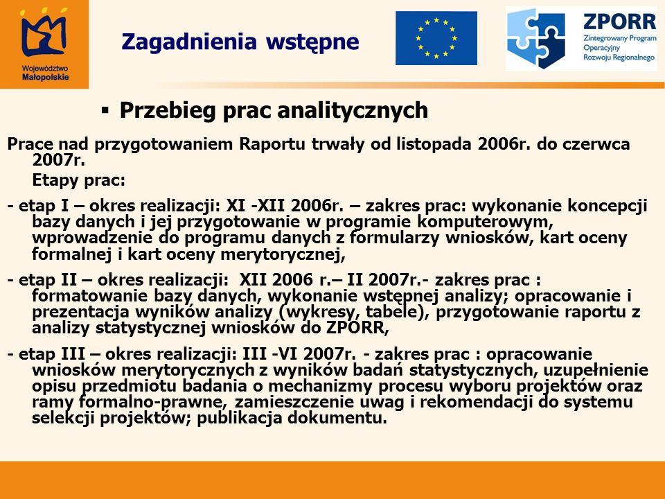 Prace nad przygotowaniem Raportu trwały od listopada 2006r. do czerwca 2007r. Etapy prac: - etap I – okres realizacji: XI -XII 2006r. – zakres prac: w