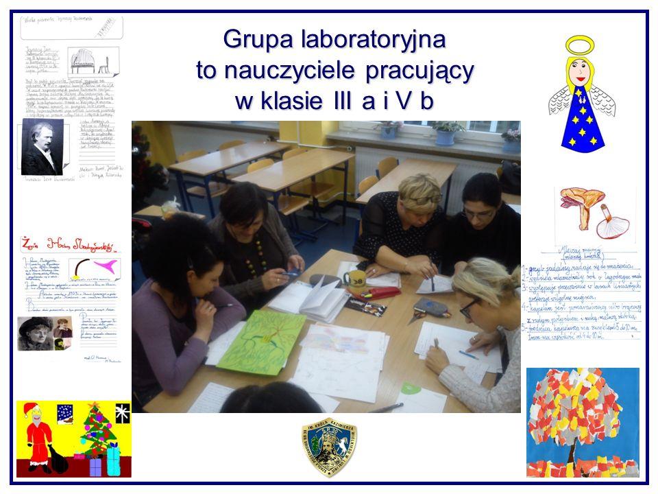 Grupa laboratoryjna to nauczyciele pracujący w klasie III a i V b