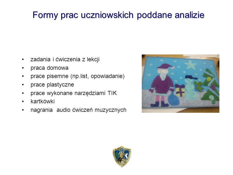 Formy prac uczniowskich poddane analizie zadania i ćwiczenia z lekcji praca domowa prace pisemne (np.list, opowiadanie) prace plastyczne prace wykonane narzędziami TIK kartkówki nagrania audio ćwiczeń muzycznych