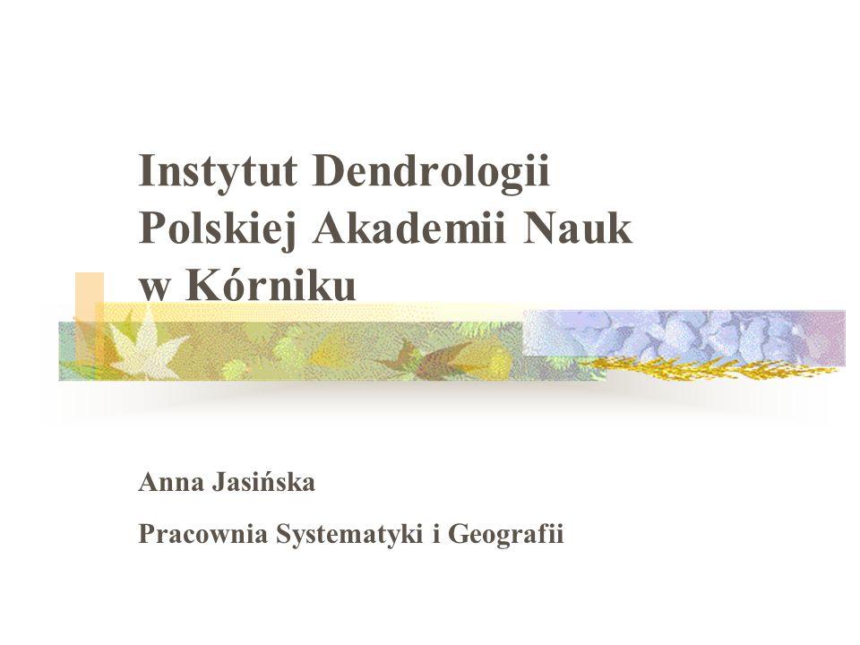 Instytut Dendrologii Polskiej Akademii Nauk w Kórniku Anna Jasińska Pracownia Systematyki i Geografii