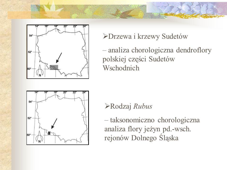Drzewa i krzewy Sudetów – analiza chorologiczna dendroflory polskiej części Sudetów Wschodnich Rodzaj Rubus – taksonomiczno chorologiczna analiza flor