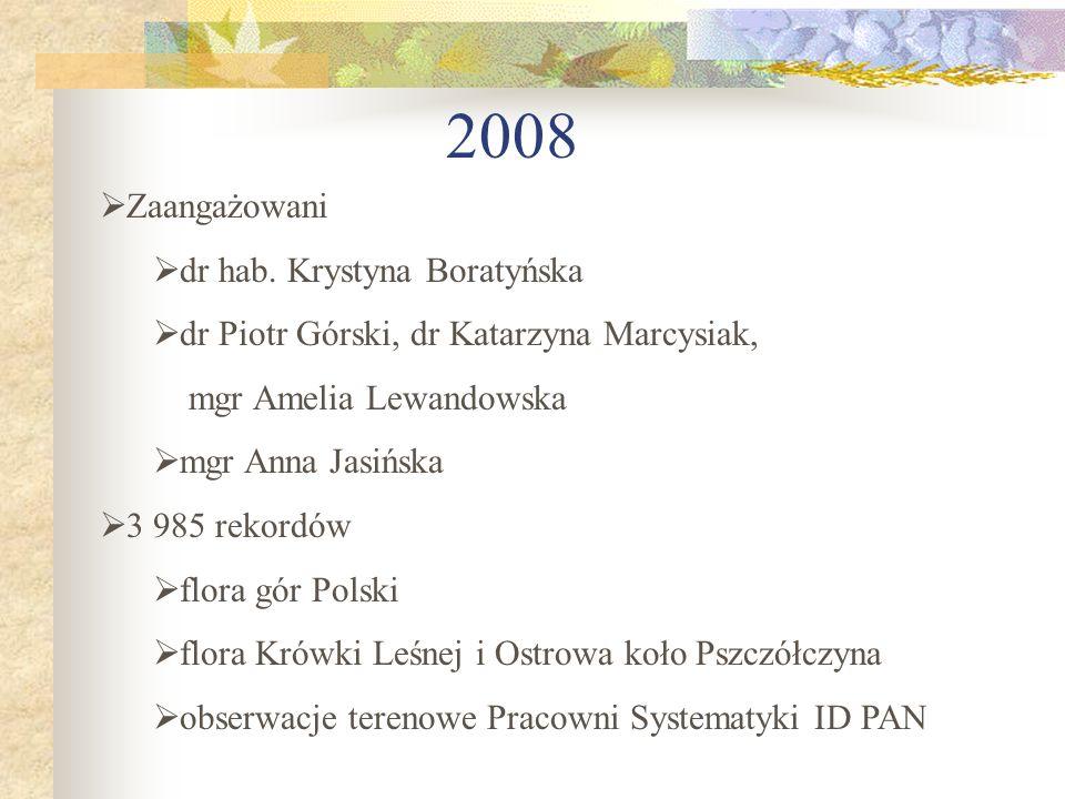 2008 Zaangażowani dr hab. Krystyna Boratyńska dr Piotr Górski, dr Katarzyna Marcysiak, mgr Amelia Lewandowska mgr Anna Jasińska 3 985 rekordów flora g