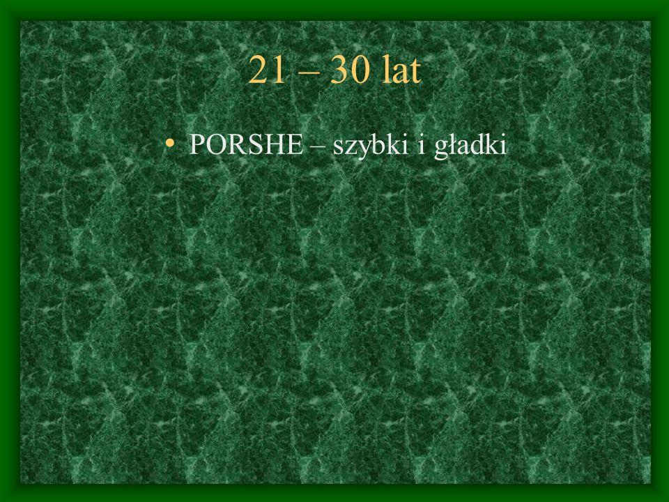 21 – 30 lat PORSHE – szybki i gładki