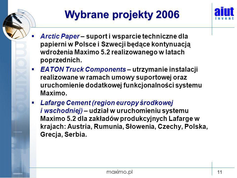 maximo.pl 11 Wybrane projekty 2006 Arctic Paper – suport i wsparcie techniczne dla papierni w Polsce i Szwecji będące kontynuacją wdrożenia Maximo 5.2