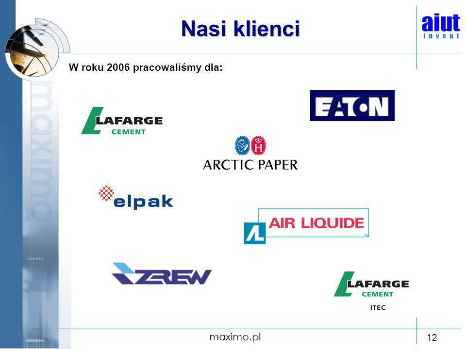 maximo.pl 12 Nasi klienci W roku 2006 pracowaliśmy dla: