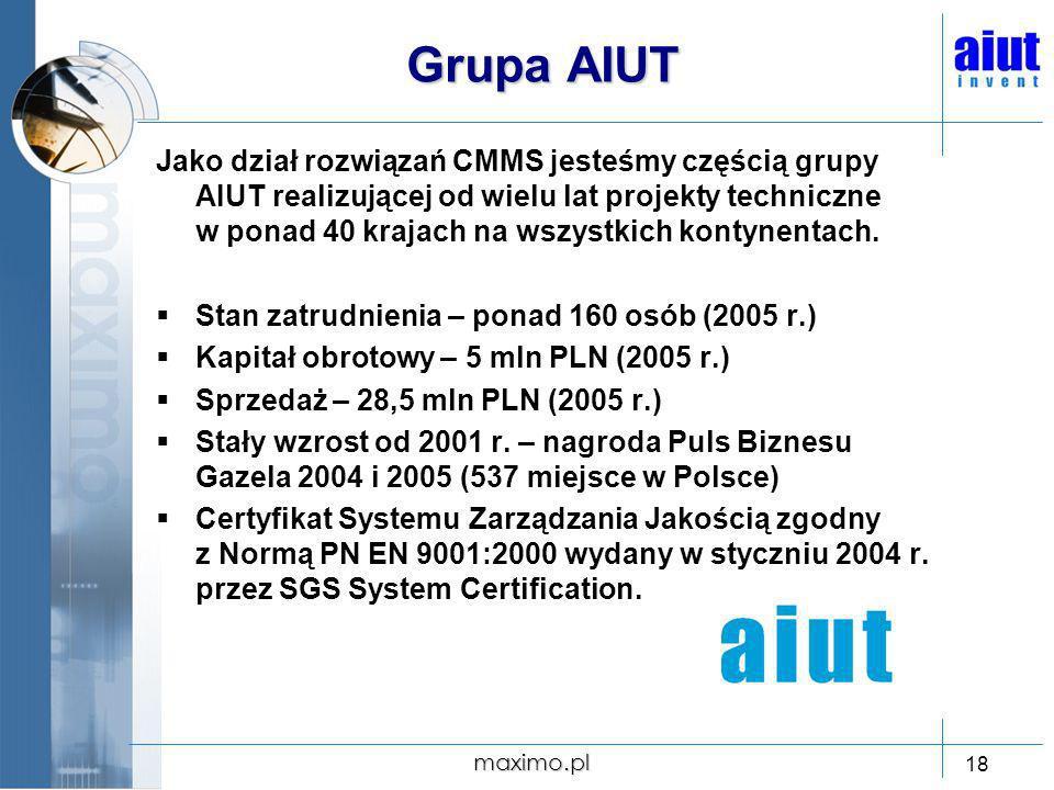 maximo.pl 18 Grupa AIUT Jako dział rozwiązań CMMS jesteśmy częścią grupy AIUT realizującej od wielu lat projekty techniczne w ponad 40 krajach na wszy