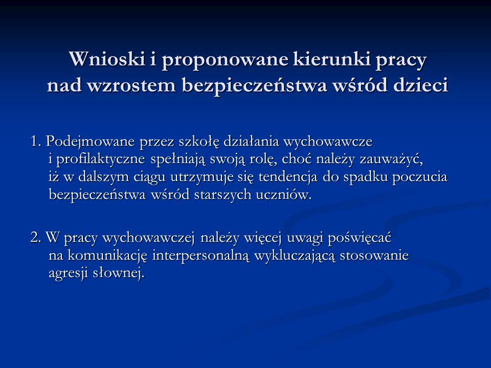 Wnioski i proponowane kierunki pracy nad wzrostem bezpieczeństwa wśród dzieci 1.