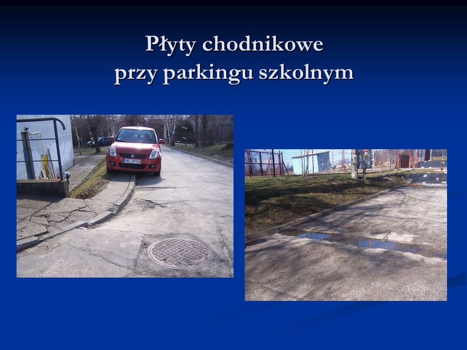 Płyty chodnikowe przy parkingu szkolnym