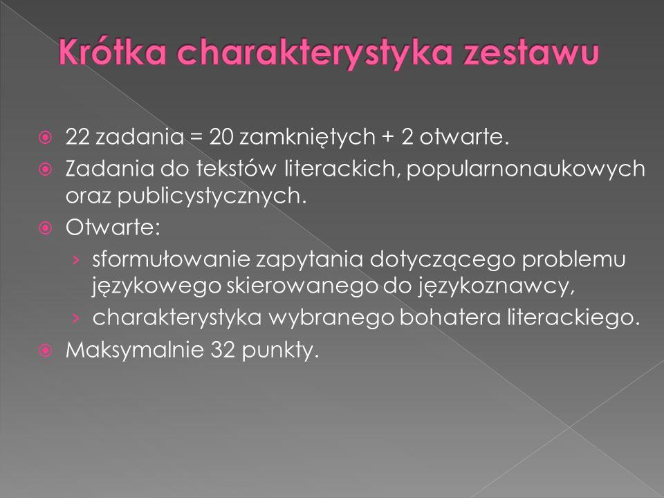 22 zadania = 20 zamkniętych + 2 otwarte. Zadania do tekstów literackich, popularnonaukowych oraz publicystycznych. Otwarte: sformułowanie zapytania do