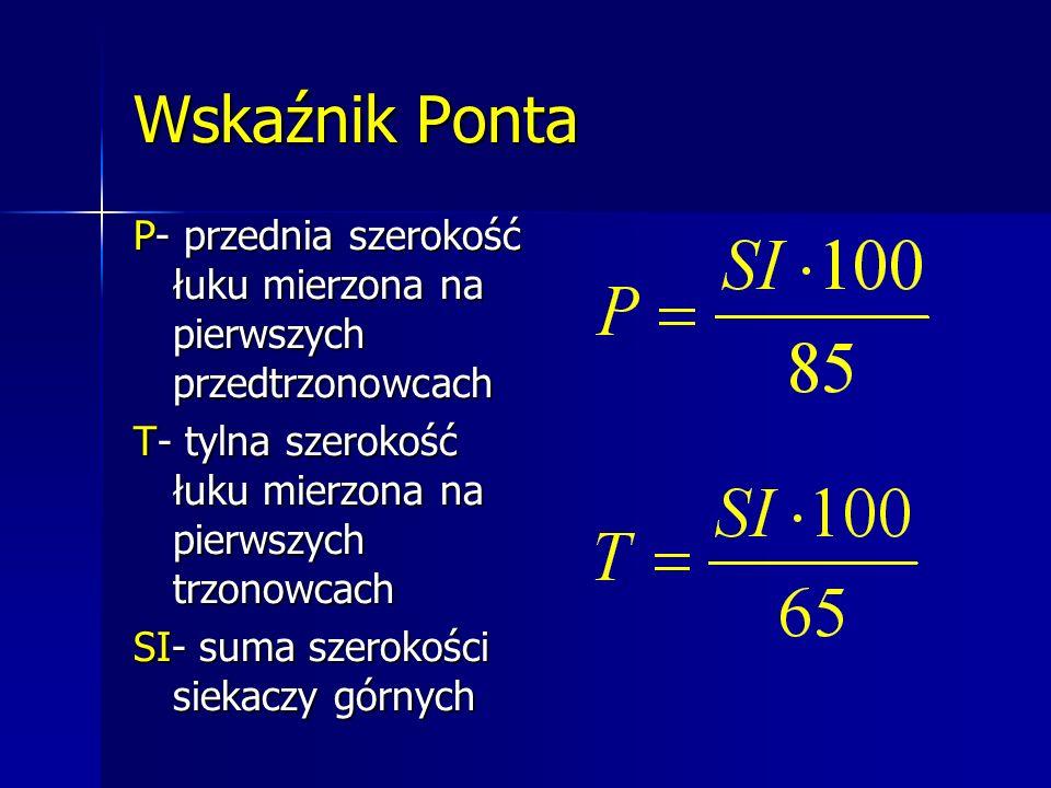 Wskaźnik Ponta P- przednia szerokość łuku mierzona na pierwszych przedtrzonowcach T- tylna szerokość łuku mierzona na pierwszych trzonowcach SI- suma