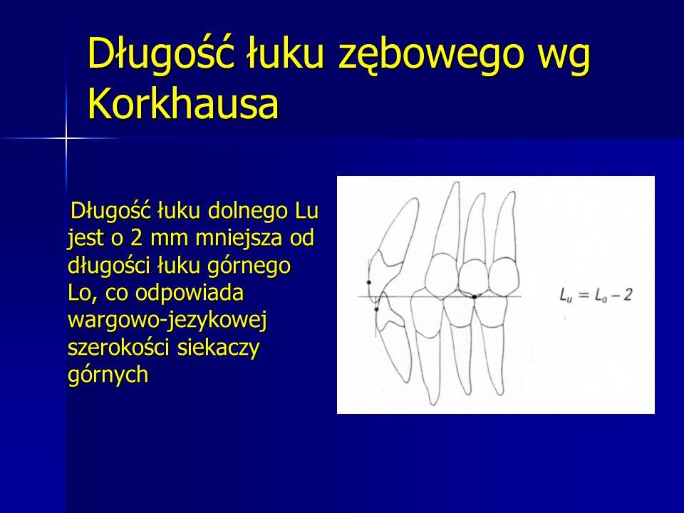Długość łuku zębowego wg Korkhausa Długość łuku dolnego Lu jest o 2 mm mniejsza od długości łuku górnego Lo, co odpowiada wargowo-jezykowej szerokości