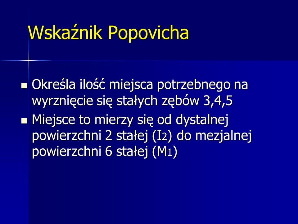 Wskaźnik Popovicha Określa ilość miejsca potrzebnego na wyrznięcie się stałych zębów 3,4,5 Określa ilość miejsca potrzebnego na wyrznięcie się stałych