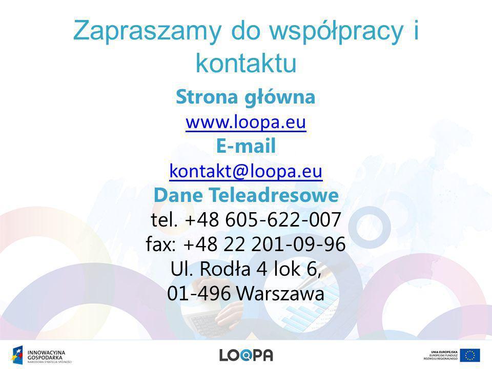 Zapraszamy do współpracy i kontaktu Strona główna www.loopa.eu E-mail kontakt@loopa.eu Dane Teleadresowe tel.