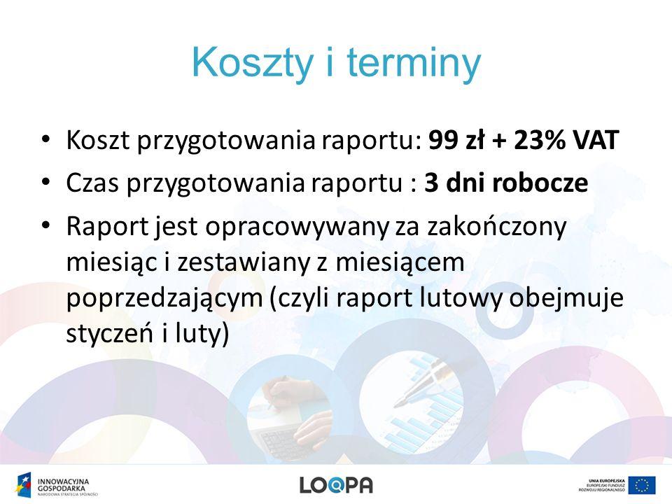 Koszty i terminy Koszt przygotowania raportu: 99 zł + 23% VAT Czas przygotowania raportu : 3 dni robocze Raport jest opracowywany za zakończony miesią
