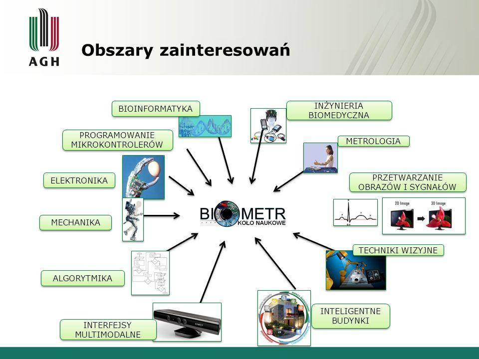 Obszary zainteresowań INŻYNIERIA BIOMEDYCZNA METROLOGIA TECHNIKI WIZYJNE INTELIGENTNE BUDYNKI BIOINFORMATYKA ELEKTRONIKA PROGRAMOWANIE MIKROKONTROLERÓ