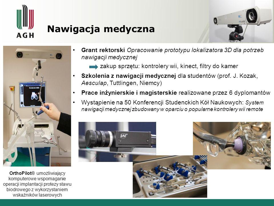 Nawigacja medyczna Grant rektorski Opracowanie prototypu lokalizatora 3D dla potrzeb nawigacji medycznej zakup sprzętu: kontrolery wii, kinect, filtry