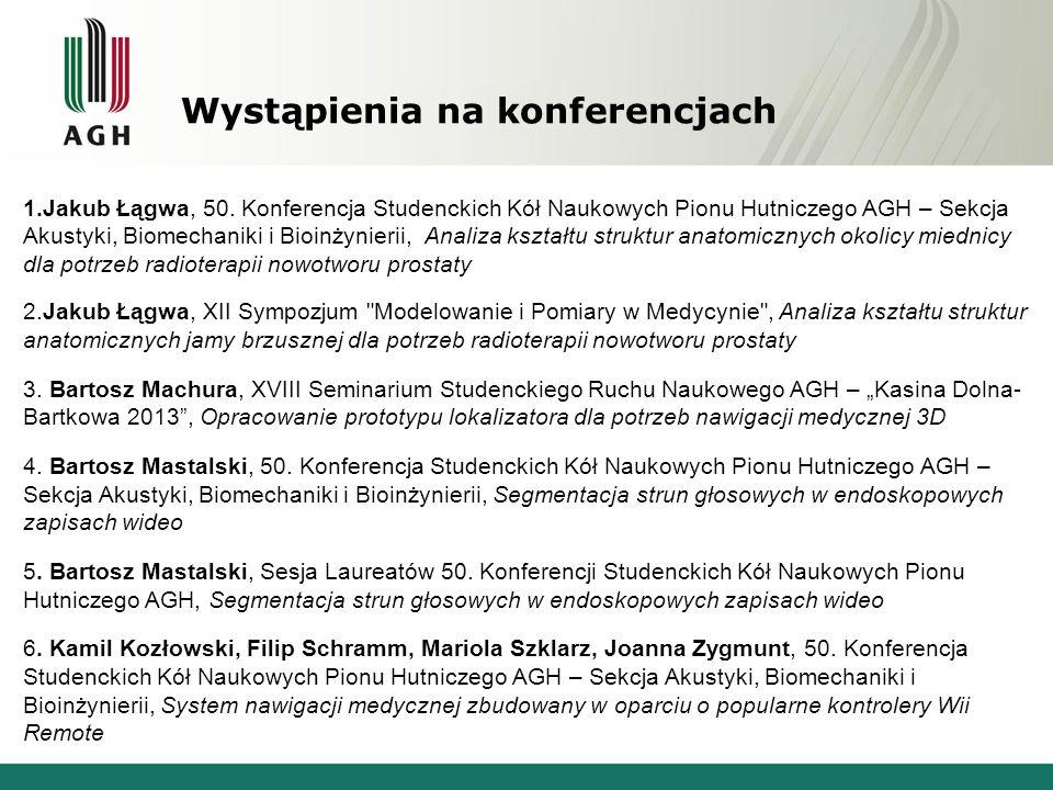 Wystąpienia na konferencjach 1.Jakub Łągwa, 50. Konferencja Studenckich Kół Naukowych Pionu Hutniczego AGH – Sekcja Akustyki, Biomechaniki i Bioinżyni