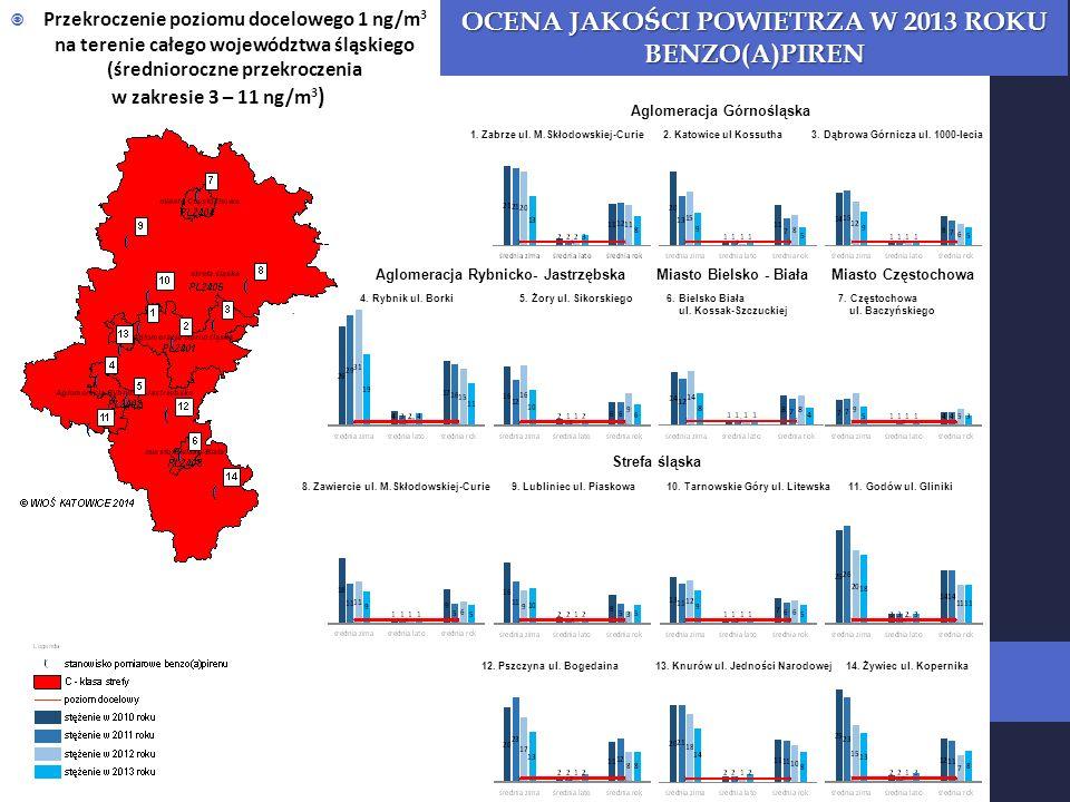 Przekroczenie poziomu docelowego 1 ng/m 3 na terenie całego województwa śląskiego (średnioroczne przekroczenia w zakresie 3 – 11 ng/m 3 ) OCENA JAKOŚCI POWIETRZA W 2013 ROKU BENZO(A)PIREN Aglomeracja Górnośląska 1.