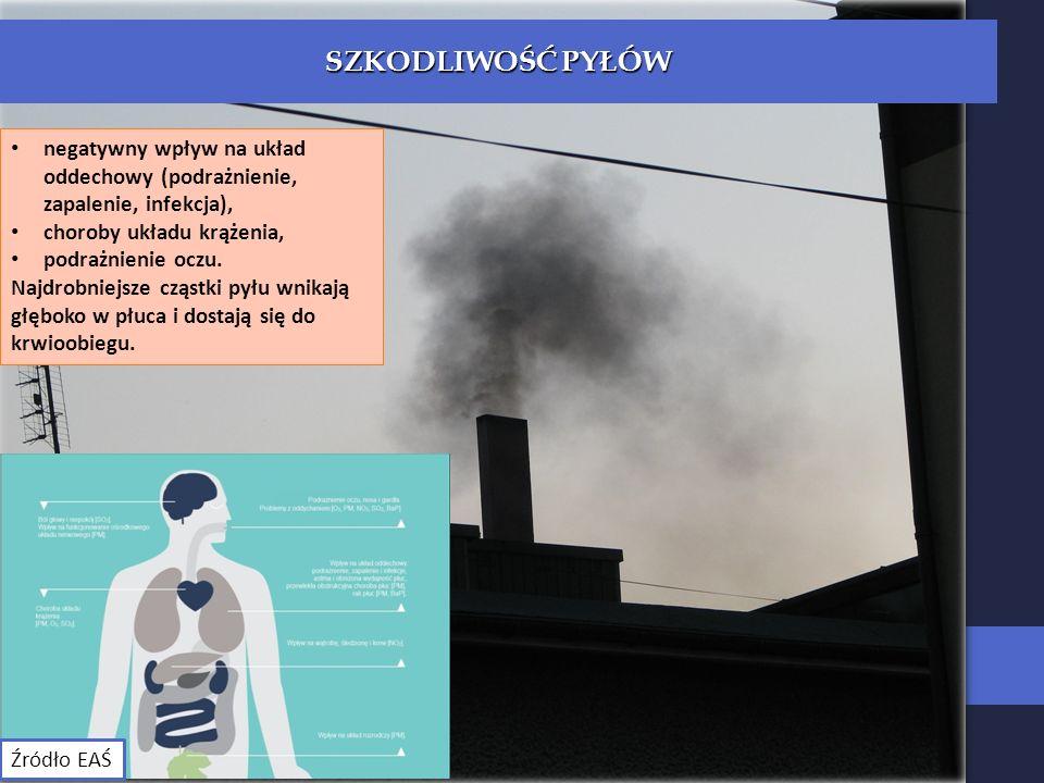 negatywny wpływ na układ oddechowy (podrażnienie, zapalenie, infekcja), choroby układu krążenia, podrażnienie oczu.