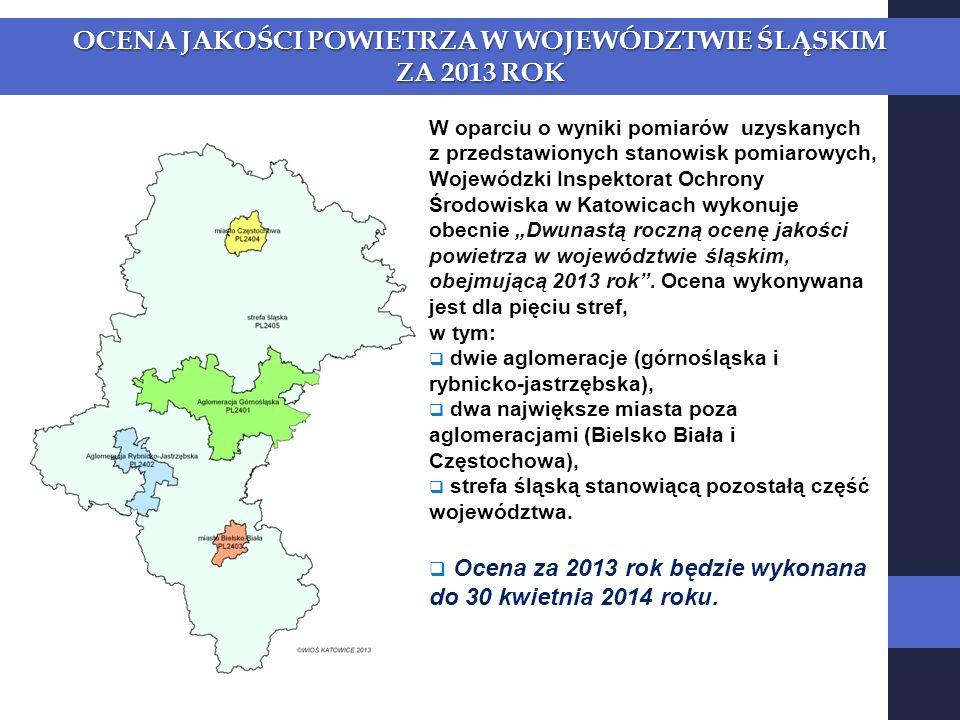 OCENA JAKOŚCI POWIETRZA W WOJEWÓDZTWIE ŚLĄSKIM ZA 2013 ROK W oparciu o wyniki pomiarów uzyskanych z przedstawionych stanowisk pomiarowych, Wojewódzki Inspektorat Ochrony Środowiska w Katowicach wykonuje obecnie Dwunastą roczną ocenę jakości powietrza w województwie śląskim, obejmującą 2013 rok.