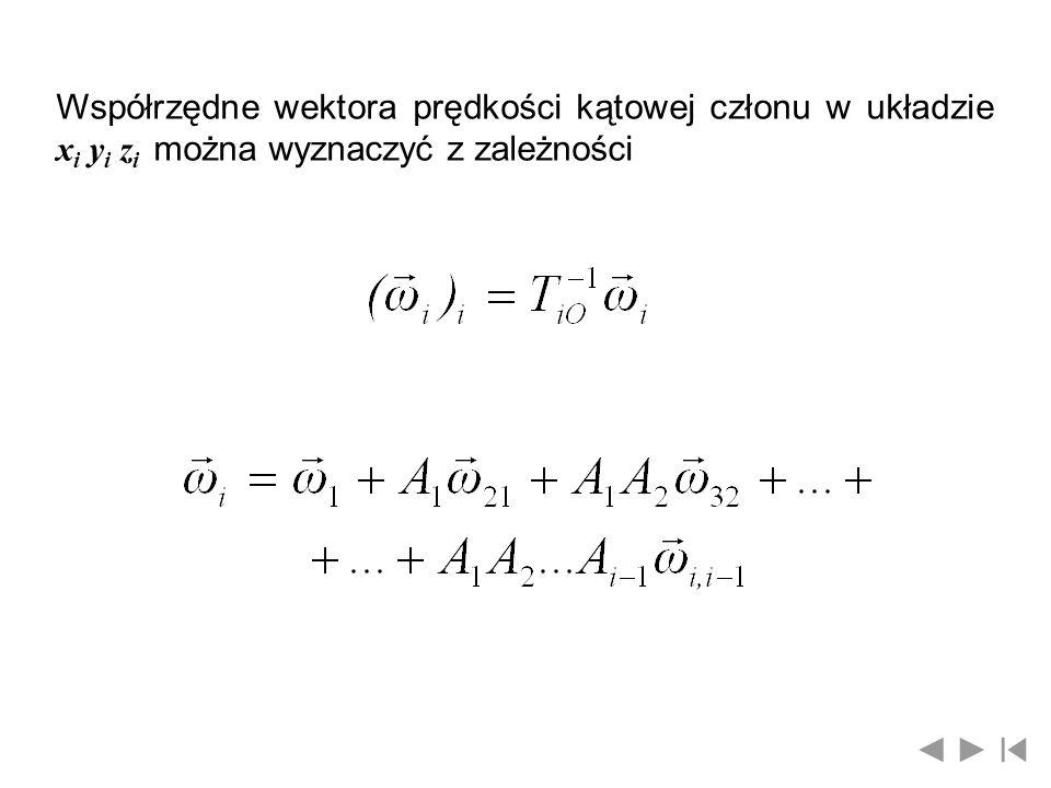 Współrzędne wektora prędkości kątowej członu w układzie x i y i z i można wyznaczyć z zależności