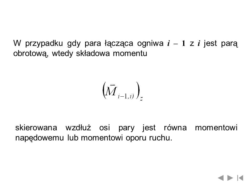 W przypadku gdy para łącząca ogniwa i – 1 z i jest parą obrotową, wtedy składowa momentu skierowana wzdłuż osi pary jest równa momentowi napędowemu lu