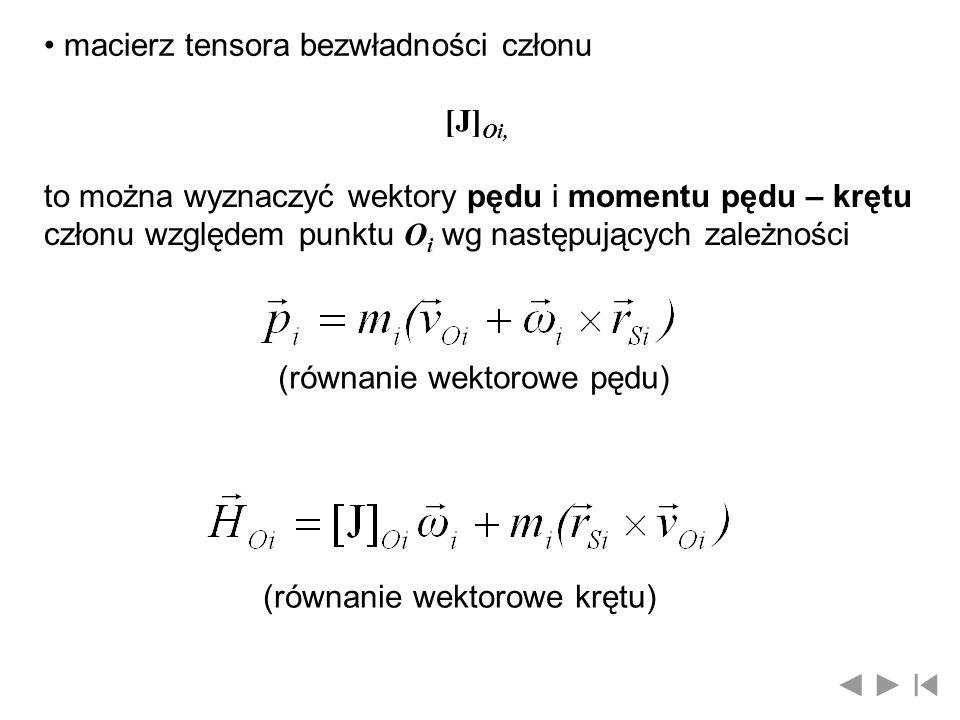 macierz tensora bezwładności członu [J] Oi, to można wyznaczyć wektory pędu i momentu pędu – krętu członu względem punktu O i wg następujących zależno